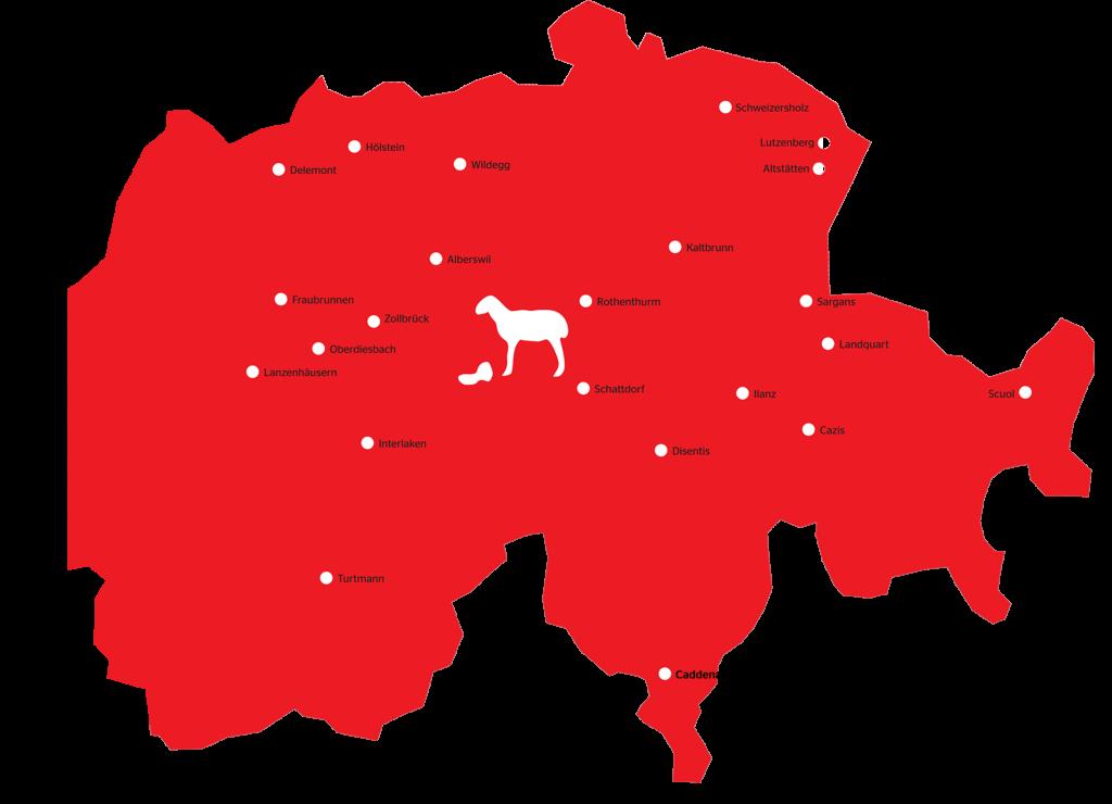 Eine Karte der Schweiz mit Orten, wo swisswool gesammelt wird.